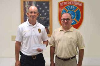 Murfreesboro Volunteer Fire Department Chief Jeremy Brittenham and Fire Commissioner Craig Dennis