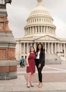 Youth Tour scholarship winners Faith Ashley (L) and Jamiqua Heckstall (R) in front of U.S. Capitol in Washington, D.C.