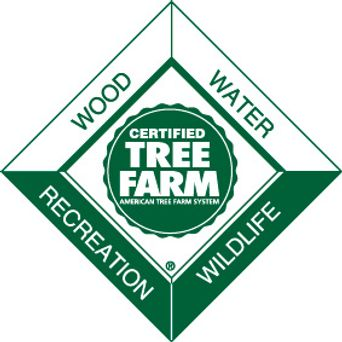 Logo for Certified Tree Farm, American Tree Farm System. Wood, Water, Recreation, Wildlife