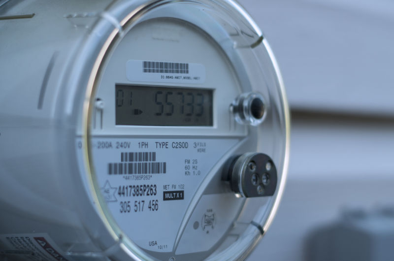 A smart electricity meter measuring a home's energy consumption