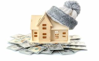 wooden toy house wearing winter stocking cap, sitting on top of a pile of cash