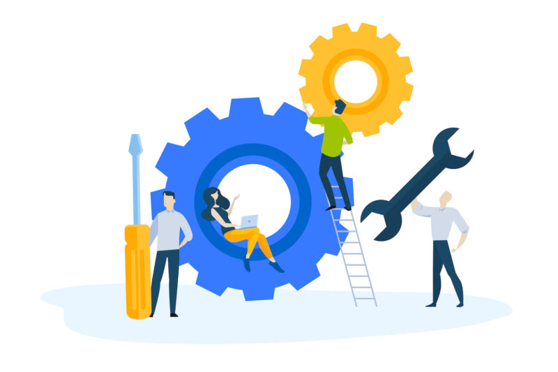 Illustration of web maintenance or repair, oversized cogs, wrench, and screwdiver. People holding tools, woman with laptop.