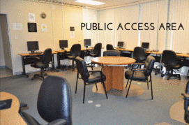 public access area with round tables and chairs